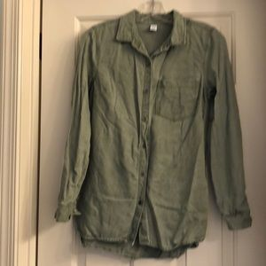 Old Navy olive green chambray button down